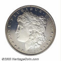 Proof Morgan Dollars: , 1880 $1 PR65 Cameo PCGS. Dramatic contrast is seen over ...