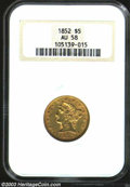 1852 $5 AU58 NGC. Close examination reveals the final digit of the date is larger than the other three and tilted to the...