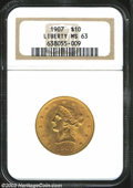 Liberty Eagles: , 1907 $10 MS63 NGC. Crisply struck with good luster and ...