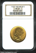 Indian Eagles: , 1907 $10 No Motto MS61 NGC. Deep yellow-gold color greets ...