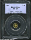 California Fractional Gold: , 1854 25C Liberty Octagonal 25 Cents, BG-108, R.5, MS64 PCGS....