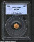 California Fractional Gold: , 1852 50C Liberty Round 50 Cents, BG-401, R.5, MS63 PCGS. ...