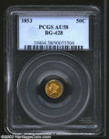 California Fractional Gold: , 1853 50C Liberty Round 50 Cents, BG-428, R.4, AU58 PCGS. ...