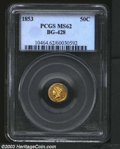 California Fractional Gold: , 1853 50C Liberty Round 50 Cents, BG-428, R.4, MS62 PCGS. ...
