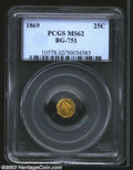 California Fractional Gold: , 1869 25C Liberty Octagonal 25 Cents, BG-751, R.6, MS62 PCGS....