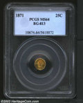 California Fractional Gold: , 1871 25C Liberty Round 25 Cents, BG-813, R.5, MS64 PCGS. ...