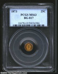 California Fractional Gold: , 1873 25C Liberty Round 25 Cents, BG-817, R.4, MS63 PCGS. ...