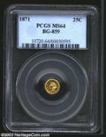 California Fractional Gold: , 1871 25C Liberty Round 25 Cents, BG-859, R.6, MS64 PCGS. ...