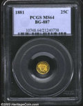 California Fractional Gold: , 1881 25C Indian Round 25 Cents, BG-887, R.5, MS64 PCGS. ...