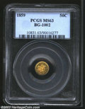 California Fractional Gold: , 1859 50C Liberty Round 50 Cents, BG-1002, R.5, MS63 PCGS. ...
