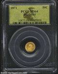 California Fractional Gold: , 1871 50C Liberty Round 50 Cents, BG-1044, R.6, MS64 PCGS. ...