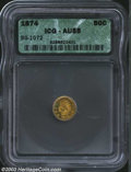 California Fractional Gold: , 1874 50C Indian Round 50 Cents, BG-1072, R.7, AU55 ICG. A ...