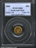 Commemorative Gold: , 1904 G$1 Lewis and Clark MS63 PCGS. An especially ...