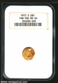 Commemorative Gold: , 1915-S G$1 Panama-Pacific Gold Dollar MS64 NGC. A sharply ...