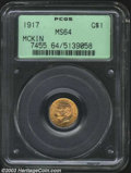 Commemorative Gold: , 1917 G$1 McKinley MS64 PCGS. Although the steps of the ...
