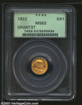 Commemorative Gold: , 1922 G$1 Grant with Star MS63 PCGS. A nicely struck piece ...
