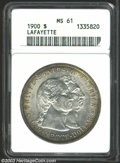 1900 $1 Lafayette Dollar MS61 ANACS. DuVall 1-B. Bands of tobacco-brown and cobalt-blue patina frame the brilliant cente...
