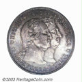 1900 $1 Lafayette Dollar MS65 PCGS. DuVall 2-C. The obverse has intermingled sea-green and lavender patina, while the re...