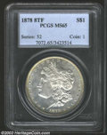1878 8TF $1 MS65 PCGS. A nicely struck and lightly toned Gem with shimmering semi-prooflike luster and attractive surfac...