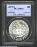 1885-CC $1 MS66 PCGS. A seemingly prooflike Gem that has a crisp strike and virtually pristine fields. Mostly brilliant...