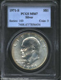 Eisenhower Dollars: , 1971-S $1 Silver MS67 PCGS. Fully struck and expertly ...