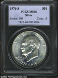 Eisenhower Dollars: , 1976-S $1 Silver MS68 PCGS. A gorgeous Superb Gem, with ...