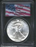 1991 $1 Silver Eagle MS69 PCGS. WTC Ground Zero Recovery. Snow-white and seemingly unimprovable aside from a small planc...