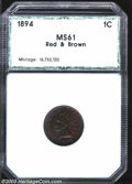 Additional Certified Coins: , 1894 1C Cent MS61 Red and Brown PCI (MS61 Brown). Deep ...