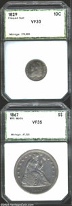 Additional Certified Coins: , 1829 10C Medium 10C Dime VF30 PCI (VF30 Cleaned), JR-12, ... (2 coins)