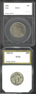 Additional Certified Coins: , 1927-S 25C Quarter VF35 PCI (VF20), dove-gray and russet ... (2 coins)