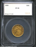 Additional Certified Coins: , 1835 $5 Half Eagle XF40 SEGS (XF40). First Head, ...