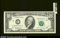 Error Notes:Foldovers, Fr. 2033-L $10 1995 Federal Reserve Note, Extremely Fine-About ...