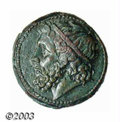 Ancients:Greek, Ancients: Sicily, Syracuse, Hieron II, 274-216 B.C., AE 22 (10.42g), Diademed head of Poseidon, left/Trident flanked by twodolphins,...