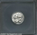 Ancients:Greek, Ancients: Thrace, Istros, ca. 400-350 B.C., AR stater, Two youngmale heads facing, side by side, one upright, the otherinverted/Sea-...
