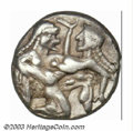 Ancients:Greek, Ancients: Thracian Islands, Thasos, ca. 550-463 B.C., AR stater(8.61g), Nude ithyphallic satyr running right, carries strugglingnymp...