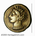 Ancients:Greek, Ancients: Zeugitania, Carthage, ca. 350-270 B.C., EL stater (7.49g), Wreathed head of Tanit, left/Horse standing, right, SNG Cop137,...