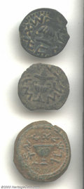 Ancients:Judaea, Ancients: Lot of three Jewish War Bronzes. Lot of three differentbronze coins of the Jewish War against Rome, 66-70 AD. Thisincludes... (Total: 3 coins Item)