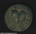 """Ancients:Judaea, Ancients: Bar Kochba War, 132-135 AD. Middle bronze , Year 2,struck 133/134 AD. Obverse: Seven-branched palm tree, ancientHebrew """"SM..."""
