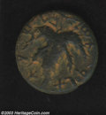 """Ancients:Judaea, Ancients: Bar Kochba War, 132-135 AD. Middle bronze, undated,struck 134/135 AD. Obverse: Seven-branched palm tree, ancientHebrew """"SI..."""