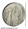 Ancients:Roman, Ancients: Q Sicinius, 49BC, AR denarius (3.92 g.), Brockage/TheClub of Hercules surmounted by lion's skin with scalp to right, bowon...