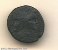 Ancients:Roman, Ancients: Sextus Pompey, 45 B.C., AE as (27.31 g), uncertainSicilian mint, Janiform head of Pompey the Great/Prow right, CR479/1, AV...