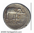 Ancients:Roman, Ancients: Julius Caesar, 49-48 BC, AR denarius (3.86 g), Elephantright, trampling on serpent/Simpulum, sprinkler, axe and priest'sha...