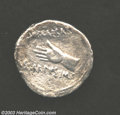 Ancients:Greek, Ancients: Octavian, AR denarius (2.78 g), 31-30 B.C., Hand/Victorystanding right on globe, RIC 500, Fine. A very rare coin struckon...
