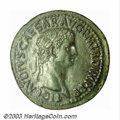 Ancients:Roman, Ancients: Claudius, 41-54 AD, AE sestertius (50.54 g), Laureatebust, right/Spes advancing left, XF. An exceptional sestertius,perf...