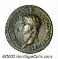 Ancients:Roman, Ancients: Claudius, Restoration by Domitian, 81-96 A.D., AE As(10.24 g), Bare head left/Minerva, holding javelin, shield,advancing r...