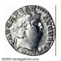 Ancients:Roman, Ancients: Nero, 54-68 A.D., AR denarius (3.32 g), 64/5 A.D.,Laureate head right/Jupiter seated left holding thunderbolt,scepter, RI...