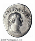Ancients:Roman, Ancients: Vespasian, 69-79 AD, AR denarius (3.36 g), Laureate headright/Confronting heads of Titus, Domitian, RIC 2, AVF. ...