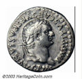 Ancients:Roman, Ancients: Titus, 79-81 AD, AR denarius, (3.51 g.), Laureate headright/Dolphin on tripod. RIC 26b. AXF. A great example of thistype....