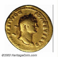 Ancients:Roman, Ancients: Domitian as Caesar, 69-81 A.D., AV aureus (6.91 g), 77/8A.D., Laureate head, right/She-wolf, standing left, sucklingtwins;...