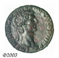 Ancients:Roman, Ancients: Nerva, 96-98 AD, AE as, (9.07 g.), Laureate head,left/Clasped hands. RIC 79, VF. A strong example of this type ofNerva wi...